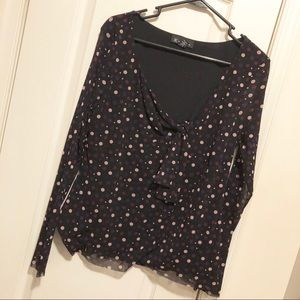 Inc tie front long sleeve blouse